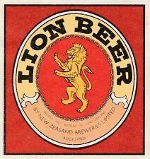 New Zealand Beer Label - New Zealand Breweries, Auckland - Lion Beer