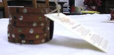 BRACCIALETTO ARTIGIANALE IN  PELLE MARRONE, CON BORCHIE  - bracciale originale