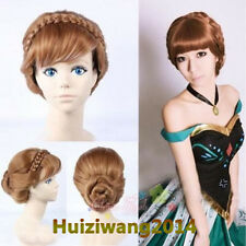 New Adult Children Frozen Anna Coronation Brown Wig Braid Full Hair Cosplay Wigs
