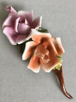CAPODIMONTE Porcelain Flowers Roses Duo Home Ornament Pink Orange Flower Decor