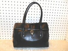 AUTHEN SALVATORE FERRAGAMO GANCINI TEXTURED BLACK LEATHER SATCHEL HOBO HANDBAG