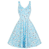 Hell Bunny Daphne Blue Floral 1950s Retro Vintage Summer Sun Tea Midi Dress