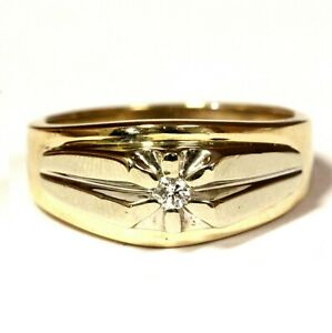 14k yellow white gold .07ct SI2 H round diamond solitaire mens ring 7.7g gents