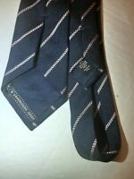$195 Ermenegildo Zegna Neck Tie Navy Blue Pink Striped 100% Silk Made in Italy