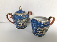 Vintage Nagoya China from Japan dragon Design sugar and creamer gold tone trim