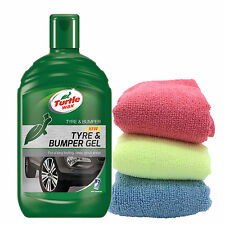 Turtle Wax Tyre Bumper Gel Plastic Rubber Cleaner Restorer + 3 Microfibre Cloths