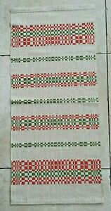Swedish green and pink Dräll pattern table runner