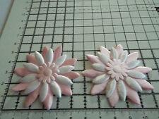 2x Satin Pink/White with Pink Big Appliqu- Daisy Motif,Trimmings,Wedding, 5.5cm