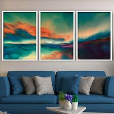 SET of 3 ABSTRACT Multi Bright Horizon Contemporary Art Print poster Decor