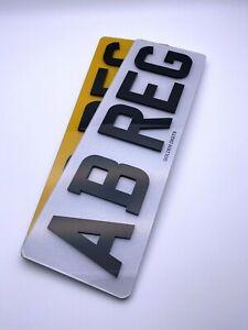"4D 3D NUMBER PLATES ROAD LEGAL FRONT & REAR LASER CUT GLOSS BLACK 13"" PAIR SHORT"