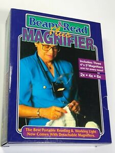 BEAM AND READ PLUS MAGNIFIER Portable Reading Light 2x 4x 6x New