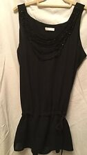 By PROMOD   Women's blackTunic  with bids necklaces  attached Beautiful size 4-6