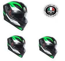 CASCO AGV INTEGRALE FIBRA K5 S MARBLE MATT BLACK WHITE GREEN TAGLIA XS