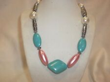 """NEW SILVER PLATED ALL NATURAL 18"""" TURQUOISE NECKLACE  LUSTROUS BEADS /  NICE"""