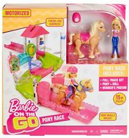 Barbie on The Go Pony Race 15+ Pieces Playset- Doll with Motorized Pony Girls 4+
