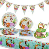 Jungle Animal Tableware Plate Balloon Banner Baby Shower Birthday Party Supplies