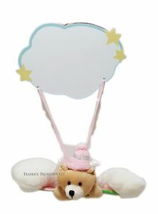 Baby Girl Angel Bear Nursery Door Hanging Sign Write in Name NEW Pink Decoration