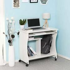 Movable Computer Desk Table Computer Workstation Sliding Keyboard Tray on Wheels