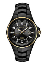 New Seiko Solar Coutura Diamond Black PVD Steel Bracelet Men's Watch SNE506