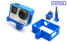 Frame + Tripod Mount f. GoPro HERO 4 Black Rahmen Zubehör Stativ Adapter Blue