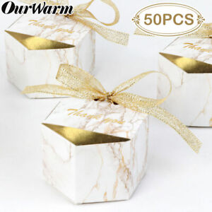 100x Geometric Marble Candy Boxes Sweet Favour Gift Box Bag Wedding Party Supply