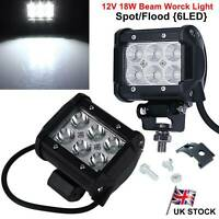 "2X 4"" Inch 6 LED 18W 12V Spot / Flood Beam Work Light Off Road Driving Car Truck"