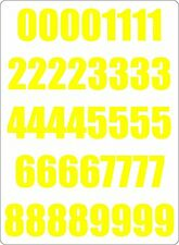 Number sheet sticker vinyl decal car bike door wheelie bin yellow race