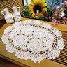 White Vintage Crochet Lace Doily Oval Cotton Table Place Mat Wedding 30x45cm