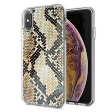 For Apple iPhone XR Snake Skin Design Double Layer Phone Case Cover