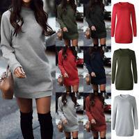 Womens Hoodie Oversized Sweater Jumper Dress Winter Long Pullover Sweatshirt Top
