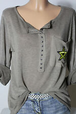 Italy Shirt Gr. 38-40-42 braun/taupé Langarmshirt/Shirt mit Brusttasche NEU