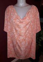 Plus Size 2X 3X Women's Peach Floral Blouse Top Drape Neck SS Jaclyn Smith NWT