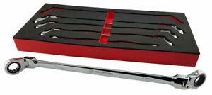BRITOOL HALLMARK 5pce EXTRA LONG FLEXI RATCHET RING SPANNER WRENCH SET 8-19mm