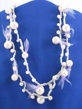 Betsey Johnson Ski Bunny Faux Pearl Crochet Necklace