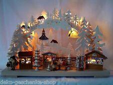 LED Arches 3D avec 2 figurines Marché de Noël 43 x 30 cm