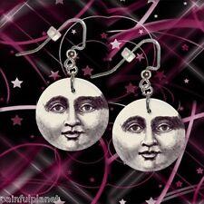 "MOON FACE  1"" Button Dangle Earrings  FREE PIN  USA Seller"