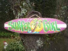 SURFER GIRL TROPICAL DECORATIVE SURFBOARD ART DECOR. BABY GIRLS KIDS ROOM SIGN