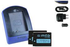 2x Baterìas + USB Cargador DMW-BLC12/BLC12E para Panasonic Lumix DMC-FZ200, G5
