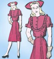 1940s Vintage Butterick Sewing Pattern 2981 Misses Street Dress Size 14 32 Bust