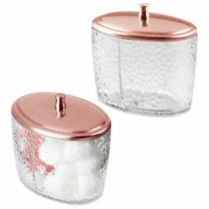 mDesign Bathroom Vanity Oval Canister Jar with Lid - 2 Pack - Clear/Rose Gold