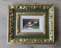 Still Life 4x6 Oil Painting Of Grapes Beautifully 12x14 framed & Signed