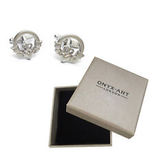 New Pair Of Silver Irish Celtic Claddagh Cufflinks & Gift Box by Onyx Art