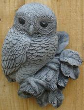 Owl Wall Plaque Stone Garden Ornament Hand Cast by Bekki 12x 6x16 cms  790 grams