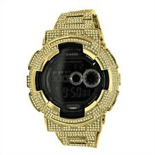 New Iced Out Diamond Simulated G Shock GD100-1B Yellow Gold Custom Watch