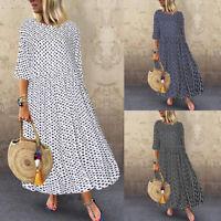 ZANZEA Women 1/2 Sleeve Casual Long Shirt Dress Polka Dot Midi Dress Sundress US