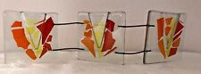 Handmade Orange, Red, Yellow Fused Glass Pocket Vase In 3 Connecting Parts 3v