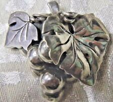 """Pin 1 1/4"""" X 1 1/4"""" Vintage, Fabulous Mexican Sterling Grape Cluster"""
