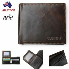 New Genuine Leather Mens Purse Bifold Credit Card Wallet RFID Blocking Anti-Scan