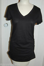Womens Long Cinched Side V Neck Tee Shirt SOLID BLACK M 8-10