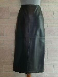 Armani Collezioni Chocolate Brown Leather Pencil Skirt Made in Italy Size 6
